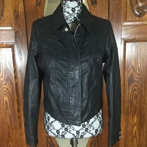 Jou Jou Black Faux Leather Crop Moto Jacket